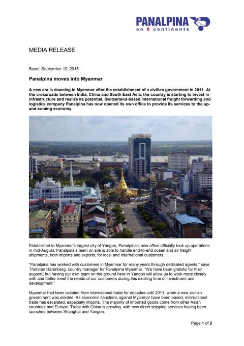 Panalpina moves into Myanmar