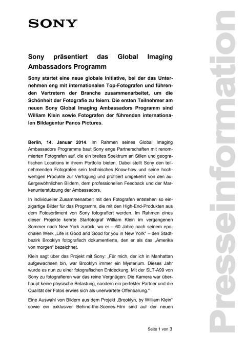 Sony präsentiert das Global Imaging Ambassadors Programm