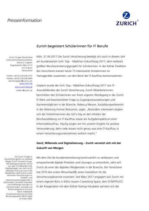 Zurich begeistert Schülerinnen für IT Berufe