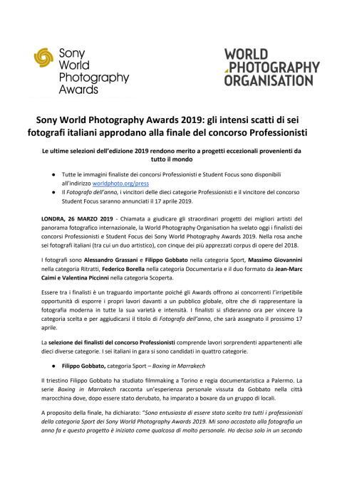 Sony World Photography Awards 2019: gli intensi scatti di sei fotografi italiani approdano alla finale del concorso Professionisti