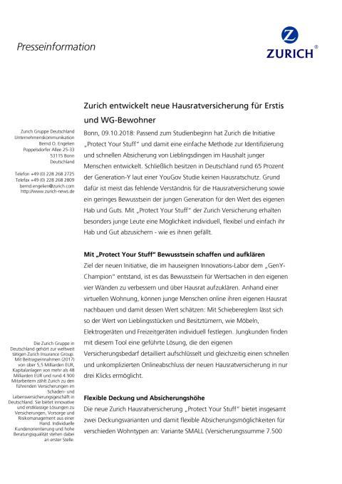 Zurich entwickelt neue Hausratversicherung für Erstis und WG-Bewohner