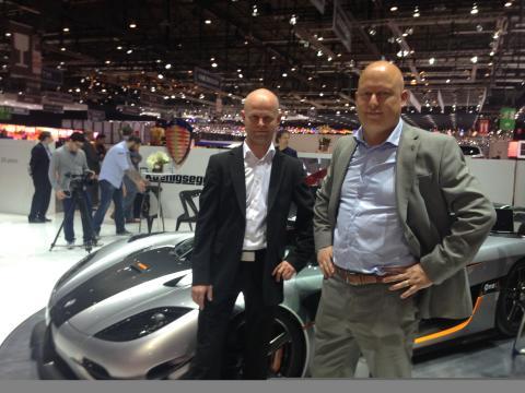 Fredrik Östbye, VP of Business Development, Telenor Connexion and Christian von Koenigsegg at the Geneva Motor Show 2014
