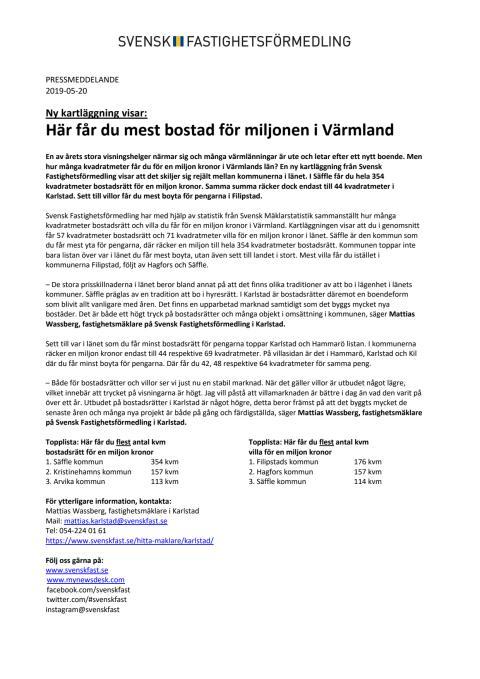 Ny kartläggning visar: Här får du mest bostad för miljonen i Värmland