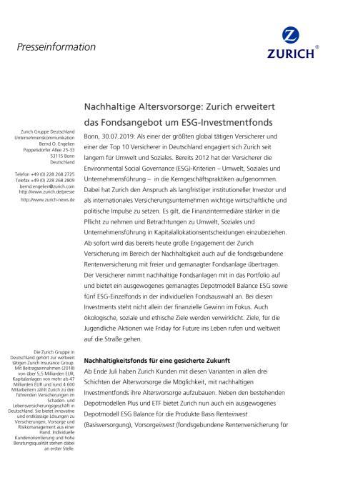 Nachhaltige Altersvorsorge: Zurich erweitert das Fondsangebot um ESG-Investmentfonds
