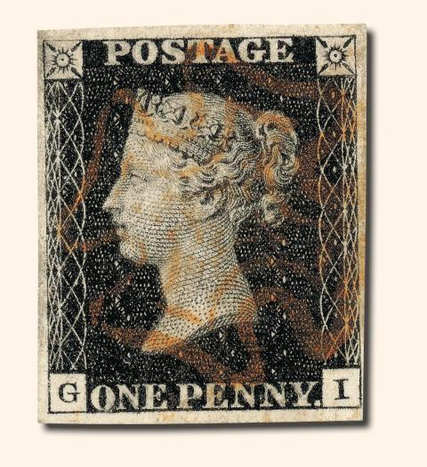 """Verdens første frimerke, """"One penny black"""""""