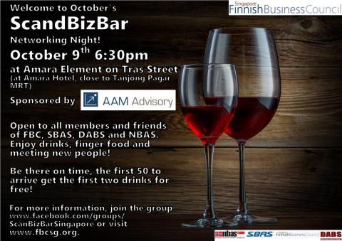 ScandBizBar Networking Night, Thursday 9 October 18.30 at Amara Element