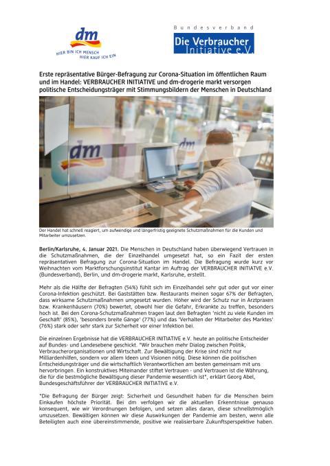 Erste repräsentative Bürger-Befragung zur Corona-Situation im Handel: VERBRAUCHER INITIATIVE und dm versorgen politische Entscheidungsträger mit Stimmungsbildern der Menschen