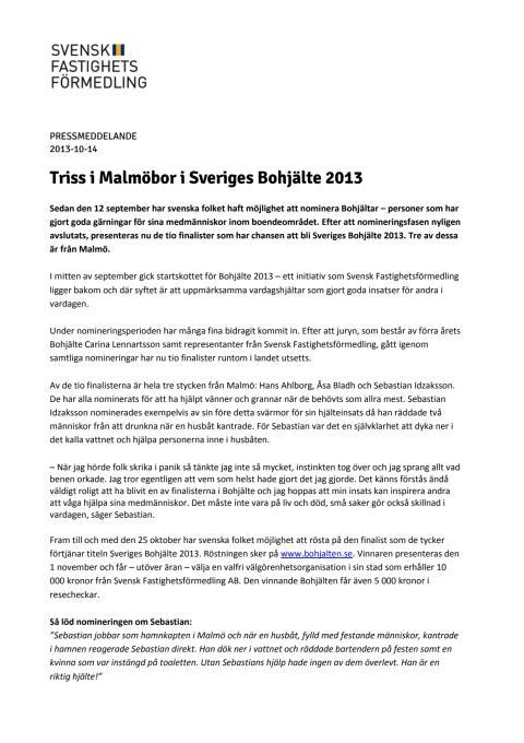 Triss i Malmöbor i Sveriges Bohjälte 2013