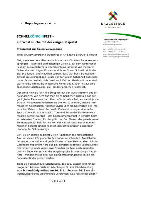 Reportageservice Schneeköniginfest und Tipps Winterzeit Erzgebirge