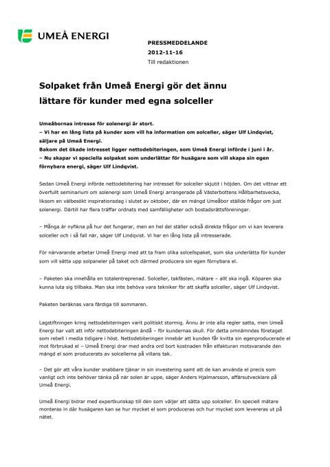 Solpaket från Umeå Energi gör det ännu lättare för kunder med egna solceller