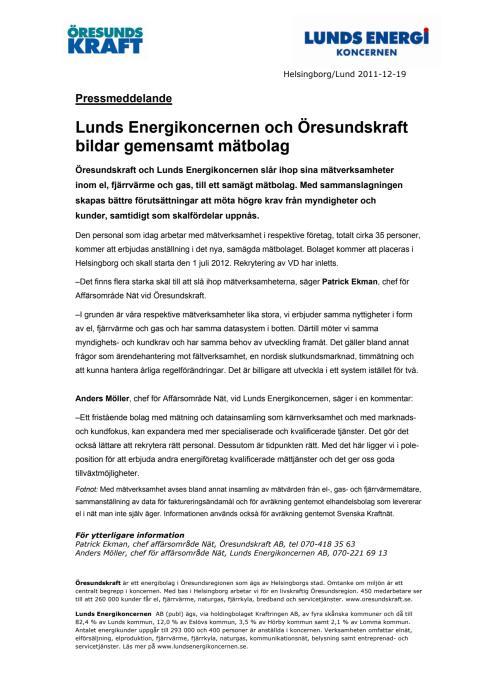 Lunds Energikoncernen och Öresundskraft bildar gemensamt mätbolag