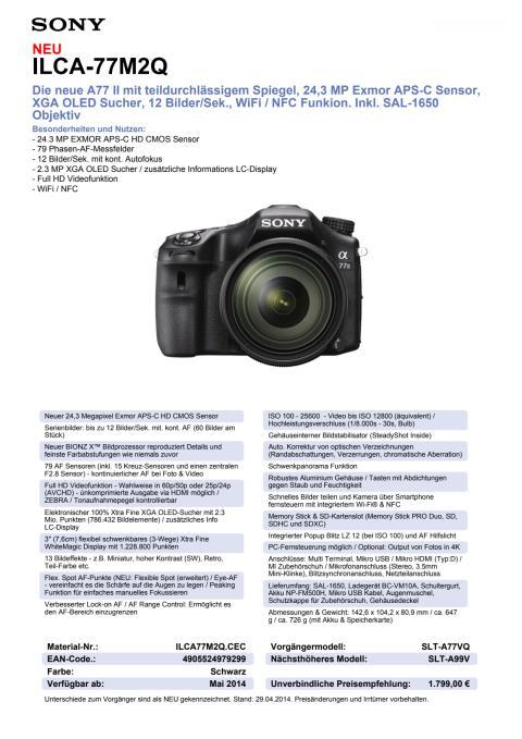 Datenblatt ILCA-77M2Q von Sony
