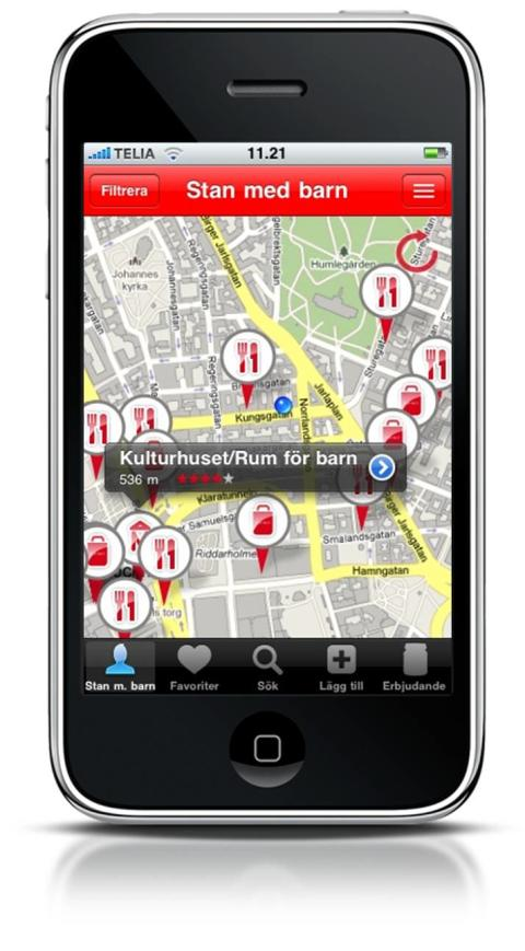 Ny iPhone-app hittar barnvänliga ställen