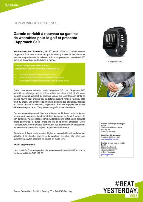 Garmin enrichit à nouveau sa gamme de wearables pour le golf et présente l'Approach S10
