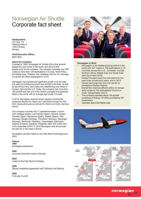 Corporate fact Sheet Norwegian