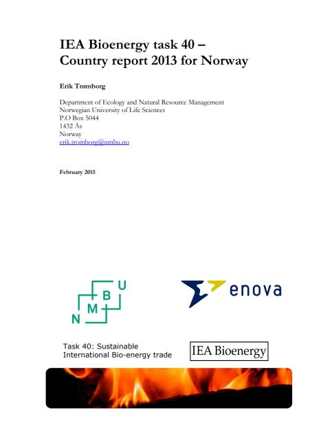 IEA Bioenergy Task 40 – Country report 2013 for Norway