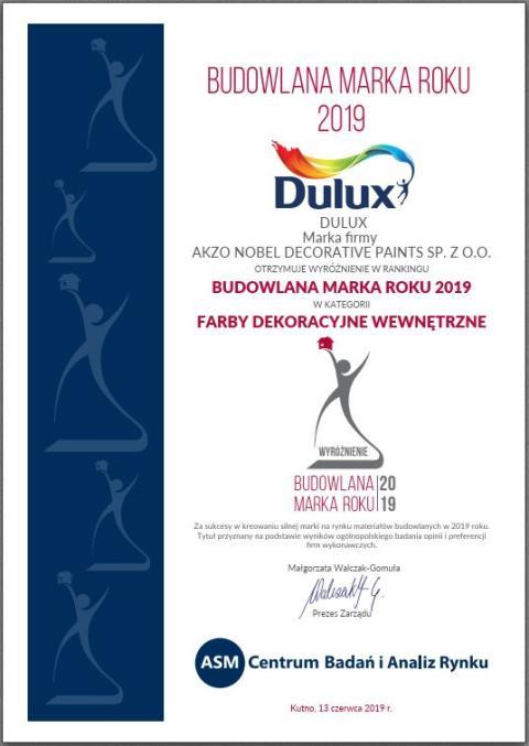 Dulux wyróżniony w rankingu Budowlana Marka Roku 2019