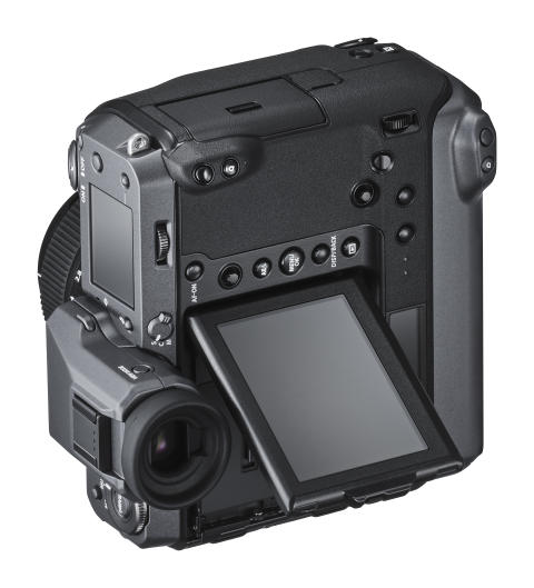 FUJIFILM GFX 100 Vertical left with EVF and monitor up