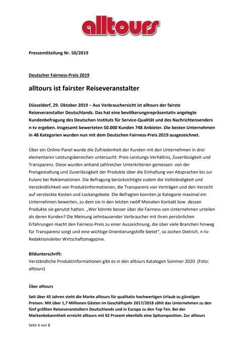 Deutscher Fairness-Preis 2019 - alltours ist fairster Reiseveranstalter