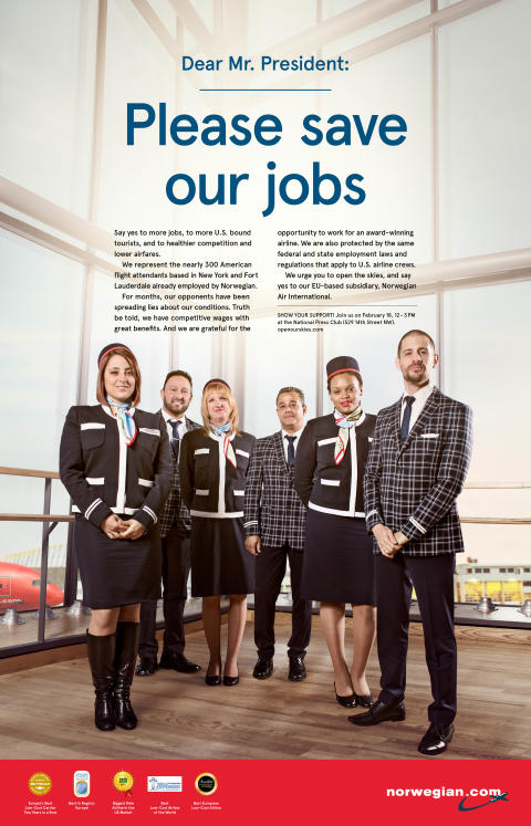 Norwegian's U.S. Based Flight Attendants Send Strong Message to President Obama