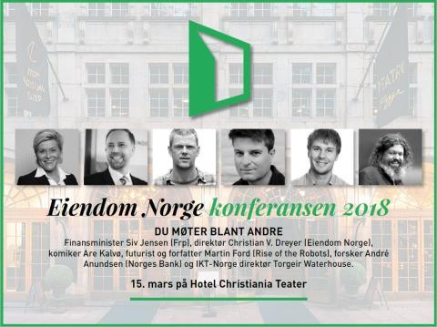 PRESSEINVITASJON: Eiendom Norge konferansen 2018 den 15. mars.