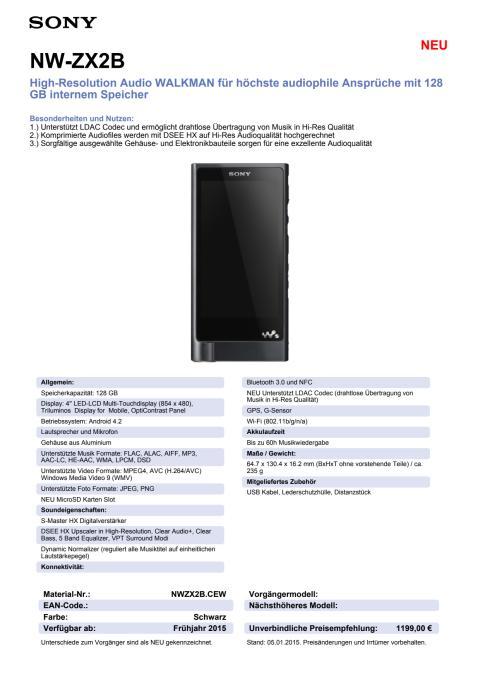 Datenblatt NW-ZX2B1 von Sony