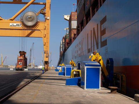 Three-in-one: Cavotec MoorMaster™ , Panzerbelt, and motorised cable reel at the Port of Salalah