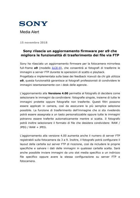 Sony rilascia un aggiornamento firmware per α9 che migliora le funzionalità di trasferimento dei file via FTP