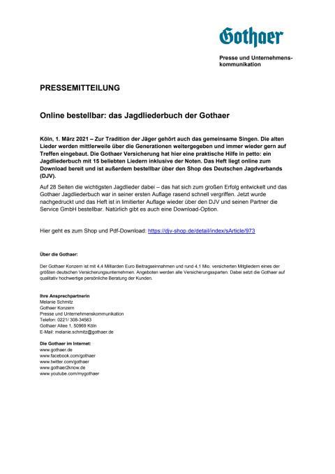 Online bestellbar: das Jagdliederbuch der Gothaer