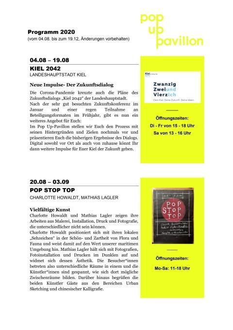 Programm im Pop Up Pavillon bis Ende Dezember 2020