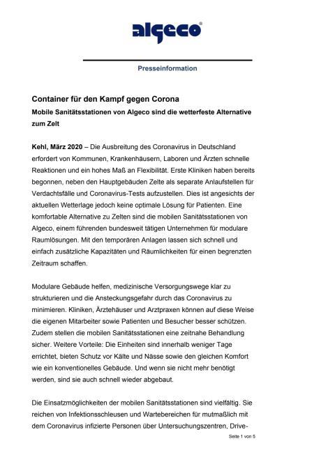 Container für den Kampf gegen Corona
