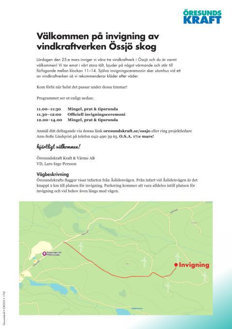 Inbjudan och karta, invigning Össjö 25 mars 2017