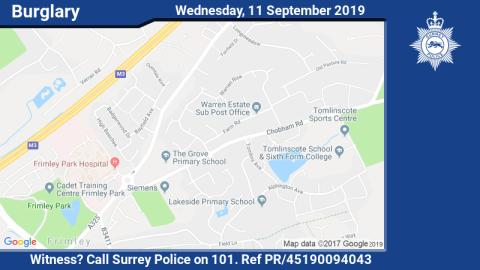Witness appeal following burglary of ornamental sword in Frimley