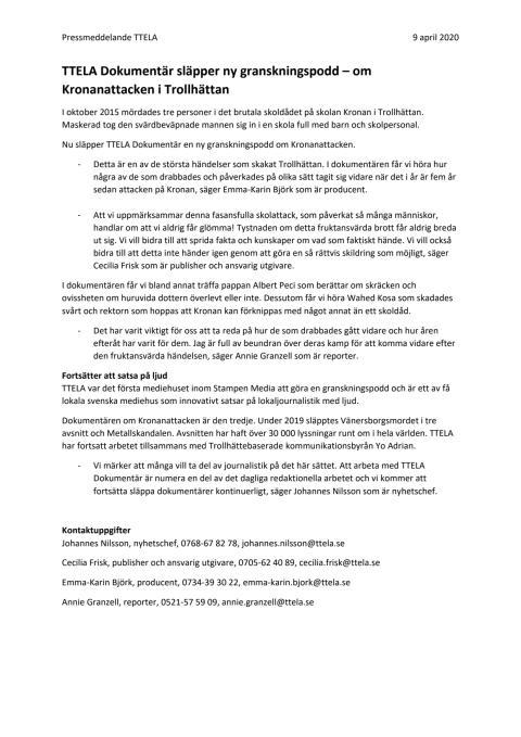 TTELA Dokumentär släpper ny granskningspodd – om Kronanattacken i Trollhättan