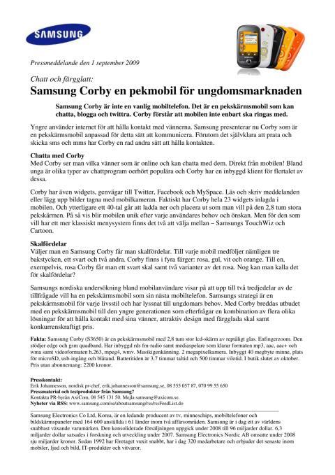 Samsung Corby en pekmobil för ungdomsmarknaden
