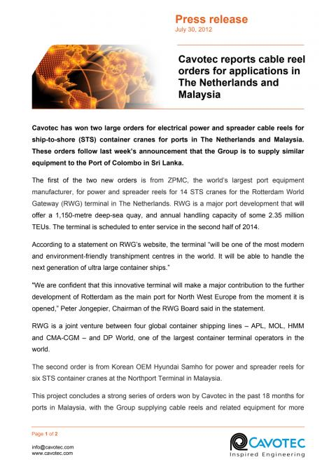 Cavotec reports cable reel orders for applications in The Netherlands and Malaysia