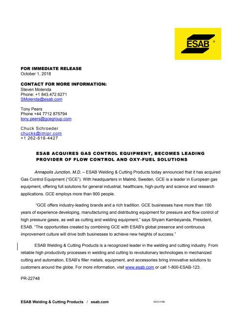 Læs ESABs fulde pressemeddelelse her (in English)