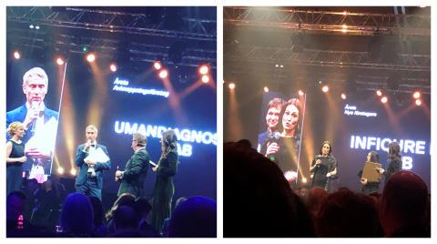 Winners at Umeågalan – Niklas Norgren, CEO UmanDiagnostics, and Sofia Mayans, CEO Inficure Bio.