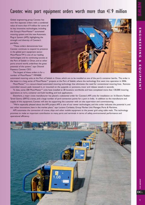 Dry Cargo International: Cavotec wins port equipment orders worth more than €9 million