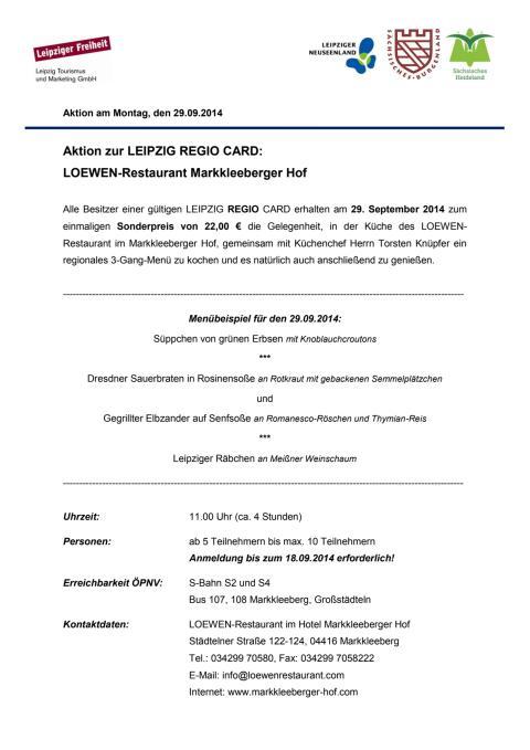 Aktionsangebot Hotel Markkleeberger Hof 29.09.2014