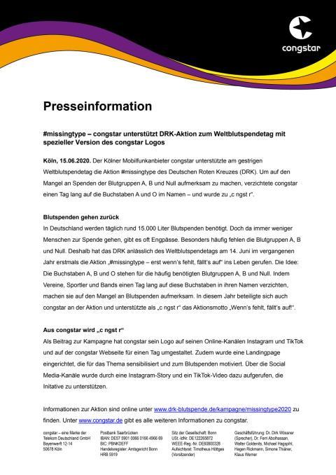 #missingtype – congstar unterstützt DRK-Aktion zum Weltblutspendetag mit spezieller Version des congstar Logos