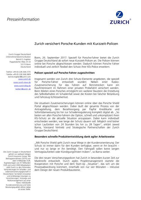 Zurich versichert Porsche-Kunden mit Kurzzeit-Policen