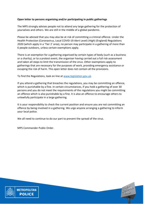 Copy of the open letter