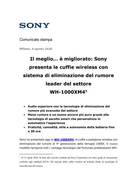 Il meglio… è migliorato: Sony presenta le cuffie wireless con sistema di eliminazione del rumore leader del settore  WH-1000XM4 [1]