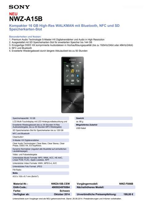 Datenblatt WALKMAN NWZ-A15B von Sony