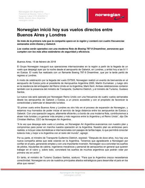 Norwegian inició hoy sus vuelos directos entre Buenos Aires y Londres