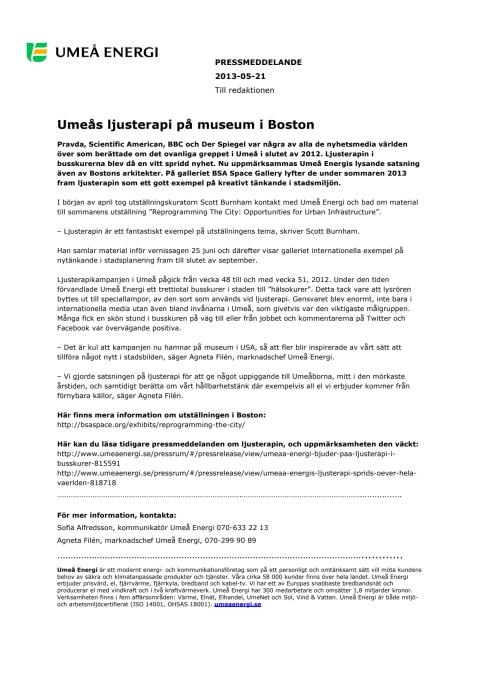 Umeås ljusterapi på museum i Boston
