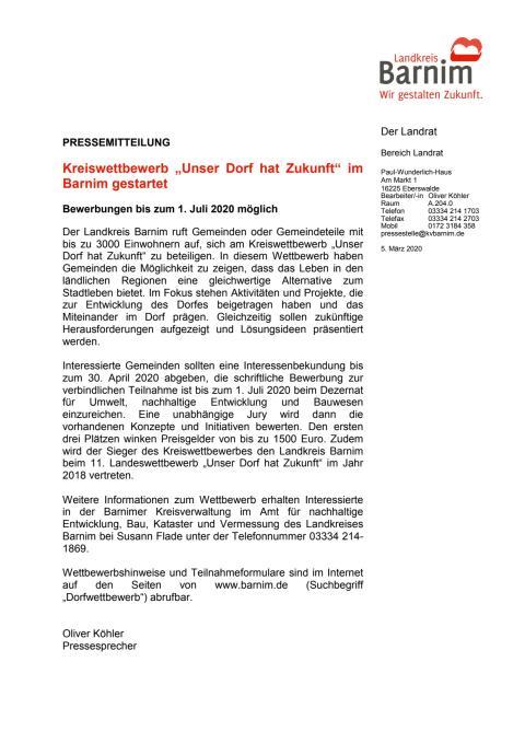 """Kreiswettbewerb """"Unser Dorf hat Zukunft"""" im Barnim gestartet"""