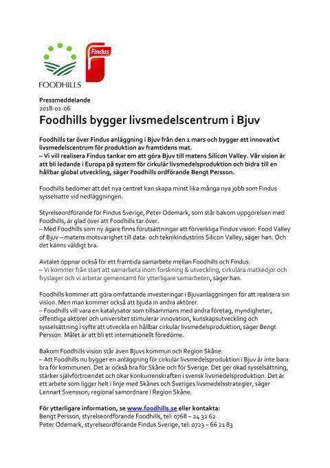 Foodhills bygger livsmedelscentrum i Bjuv