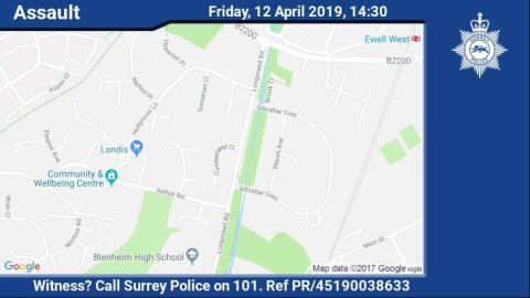 Witness appeal following assault in Epsom